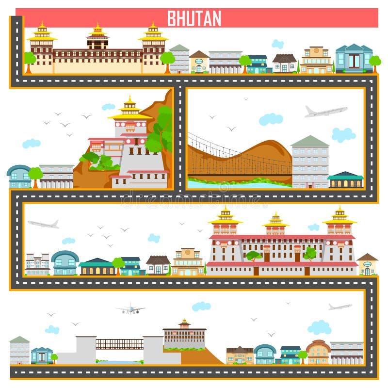 Cityscape med den berömda monumentet och byggnad av Bhutan vektor illustrationer