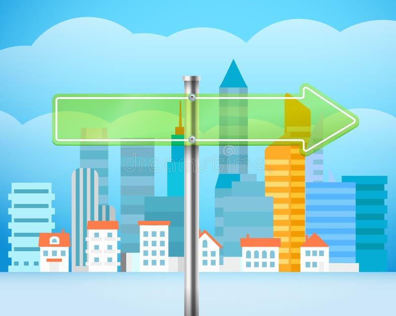 Cityscape med det glass brädet Illustration för stadstrafik stock illustrationer