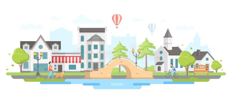 Cityscape med en bro - modern plan illustration för designstilvektor royaltyfri illustrationer