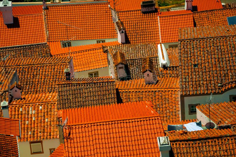 Cityscape med många tak royaltyfri fotografi