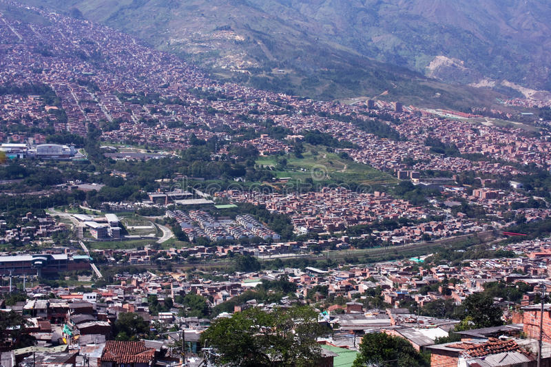 Cityscape Medellin. Shanties built on the slopes of the mountains. Homes townships. Colombia stock photography