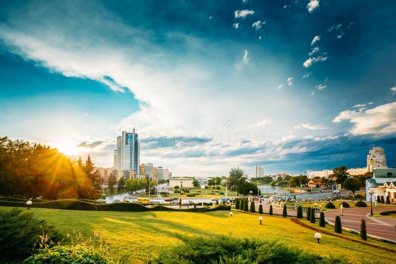Cityscape Mening van Moderne Architectuur van Minsk royalty-vrije stock foto's