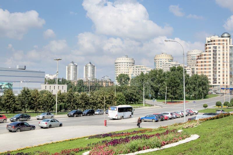 Cityscape mening van moderne Yekaterinburg stock fotografie