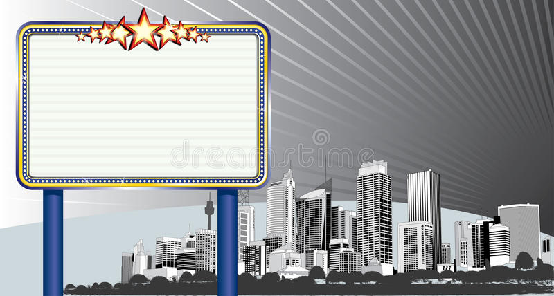 Cityscape met Aanplakbord royalty-vrije stock foto