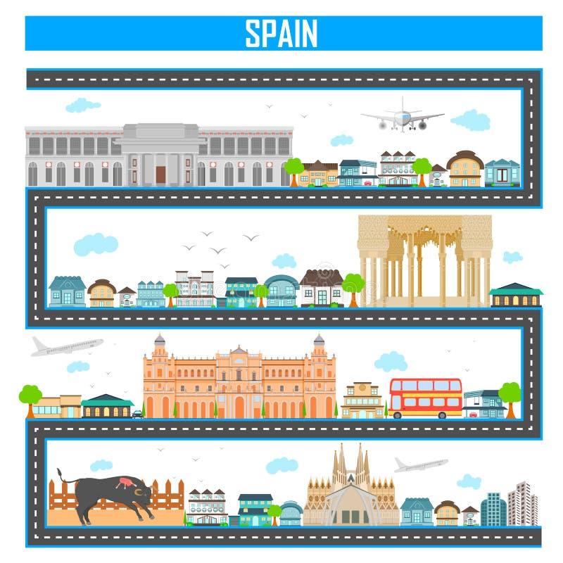 Cityscape met beroemd monument en de bouw van Spanje royalty-vrije illustratie