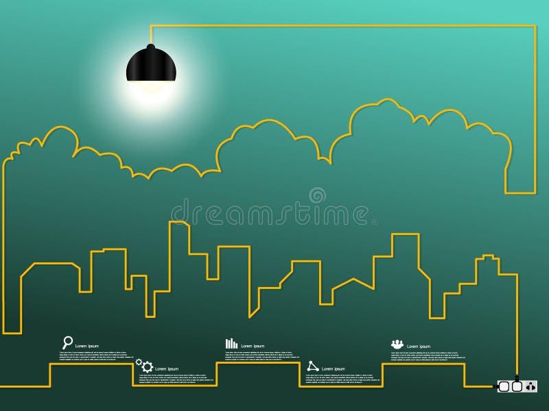 Cityscape met creatieve draad gloeilamp stock afbeelding