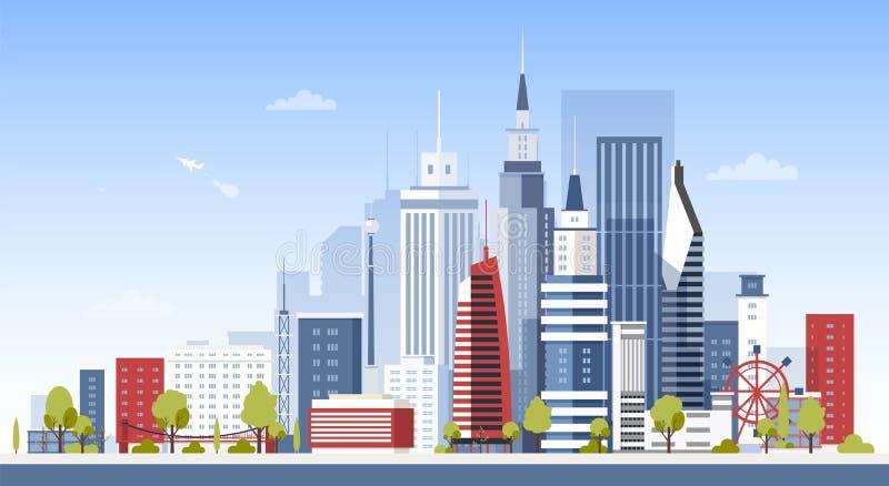 Cityscape met de stadsgebouwen van de binnenstad Panorama van moderne economische sector met wolkenkrabbers Stedelijke ontwikkeli stock illustratie