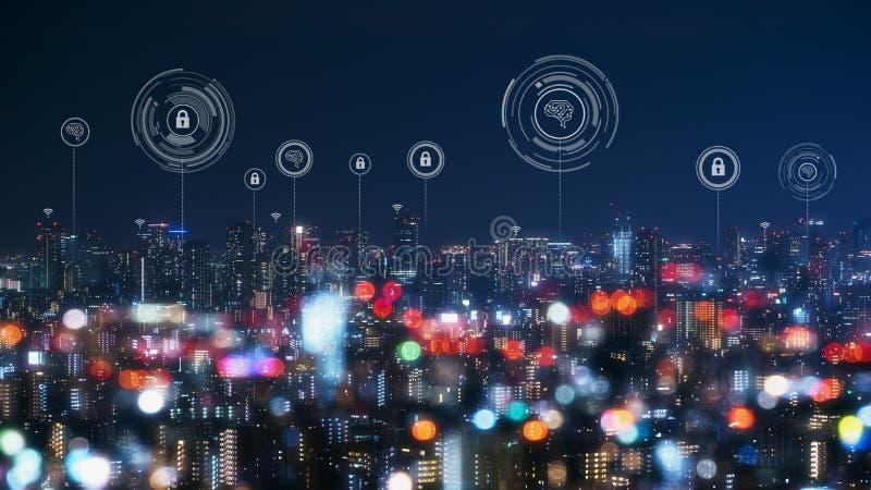 Cityscape met het verbinden van conceptuele punttechnologie van slimme stad stock fotografie