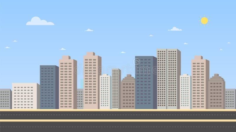 Cityscape met hoofdstraat en hemel vectorillustratie als achtergrond Gebouwenlandschap Dagcityscape in vlakke stijl vector illustratie