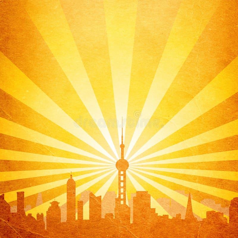 Cityscape met toren vector illustratie