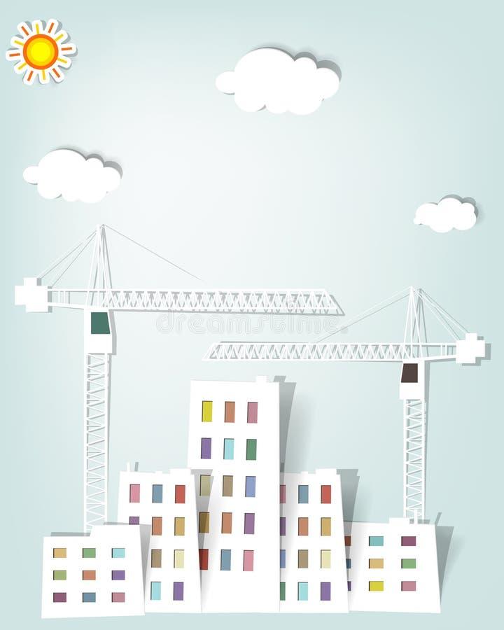 Cityscape met torenkranen royalty-vrije illustratie