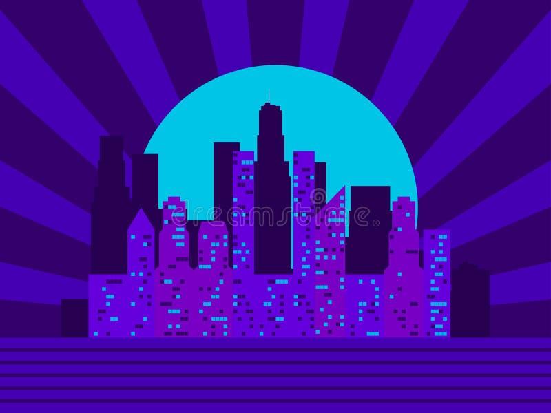 Cityscape met wolkenkrabbers in de stijl van de jaren '80 Retro Futurisme De straat van Moskou Varvarka Licht in de vensters Vect stock illustratie