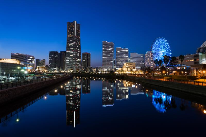 Cityscape of Minato Mirai area of Yokohama City at dusk royalty free stock images