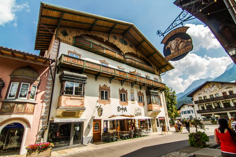 Cityscape in Mittenwald Alps stock image