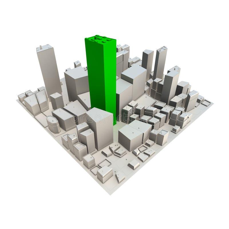 Download Cityscape Model 3D - Green Skyscraper Stock Illustration - Image: 10668466
