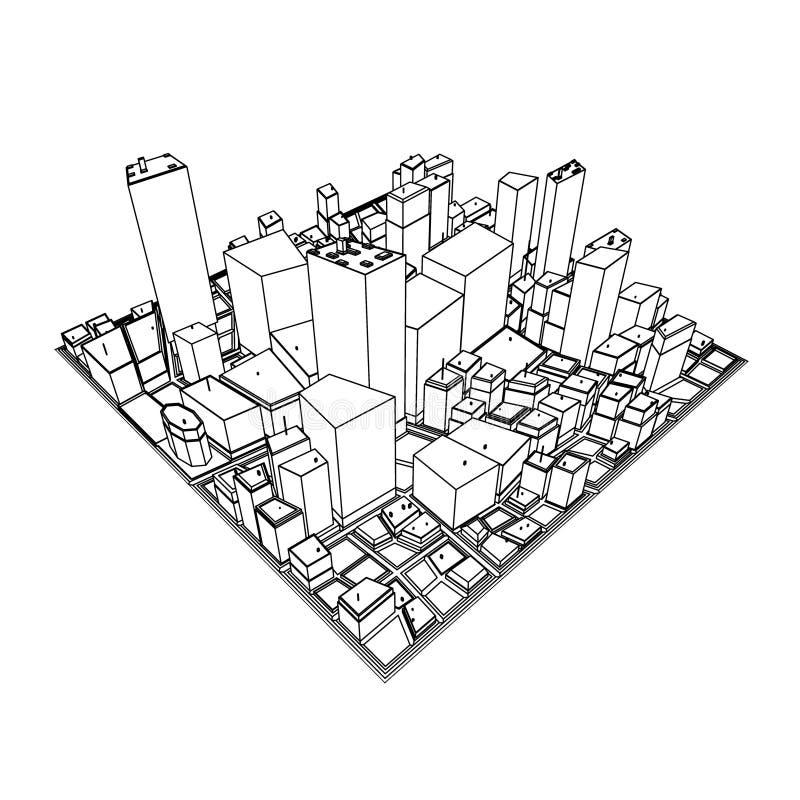 Cityscape Model 3D - Schets royalty-vrije illustratie