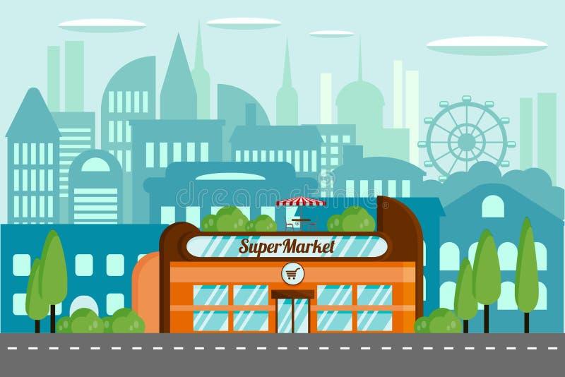 cityscape Modern supermarket i en stads- miljö vektor illustrationer
