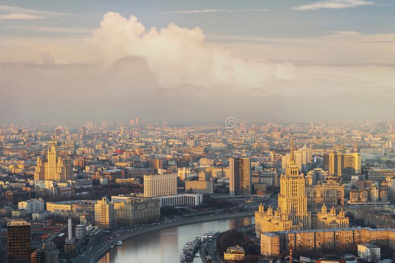 cityscape of modern and urban skyscrapers Moscow International Business Center is Architecture and landmark of Moscow City with royalty free stock photo
