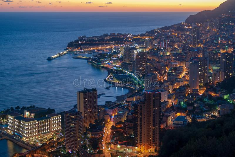 Cityscape of Monaco in evening light. Principality of Monaco panoramic view in evening light stock images