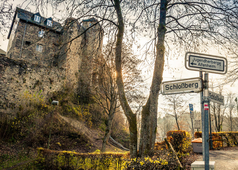 Cityscape Monschau, Gemany - The Castle. View In The Streets Of Monschau, Germany royalty free stock photos