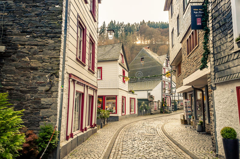 Cityscape Monschau, Gemany. View In The Streets Of Monschau, Germany royalty free stock photos