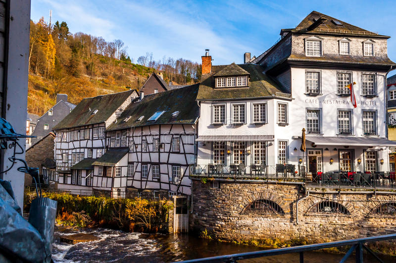 Cityscape Monschau, Gemany. View In The Streets Of Monschau, Germany royalty free stock images