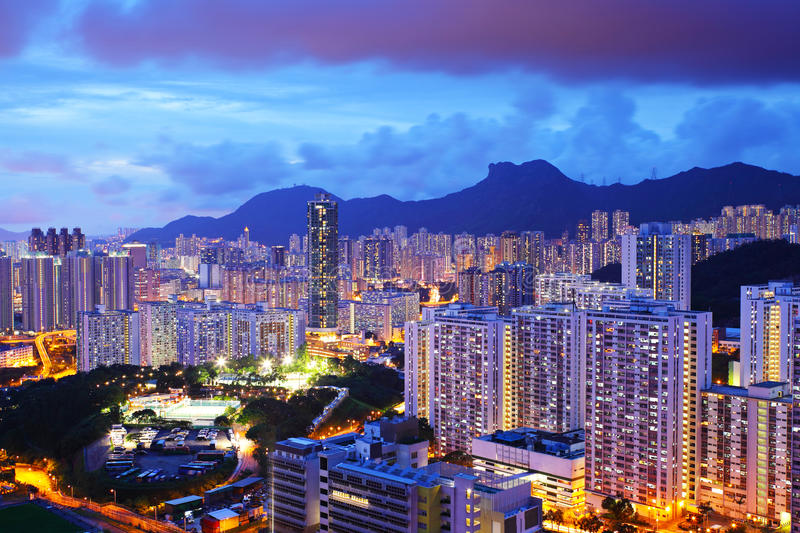 Cityscape with mt. Lion Rock in Hong Kong royalty free stock photos