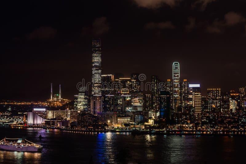 Cityscape nacht Tsim Sha Tsui Hong Kong stock foto