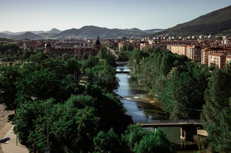 Cityscape of the new area of Pamplona Spain stock images