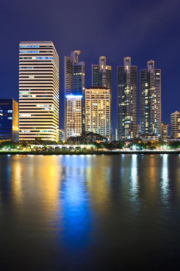 Cityscape at night Bangkok. Thailand, showing the financial district stock image