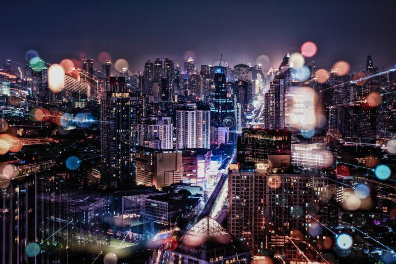 Cityscape in the night royalty free stock images