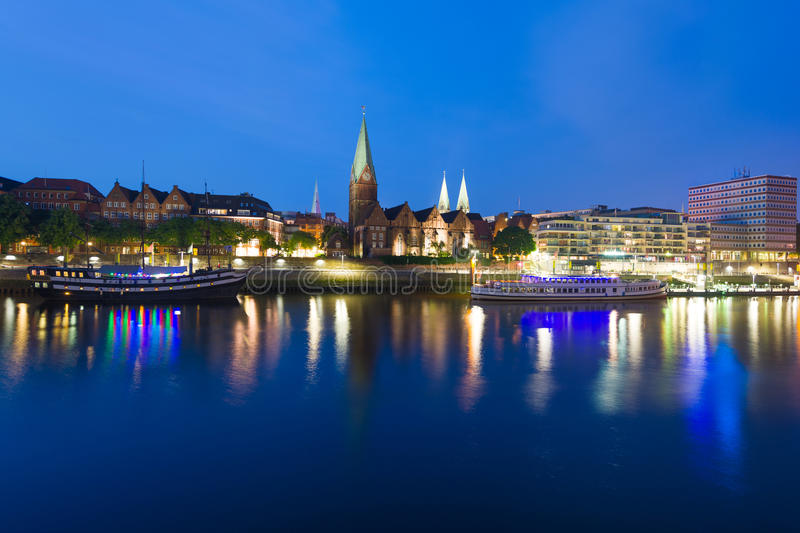 Cityscape of night Bremen. Over the Rhein river royalty free stock photography