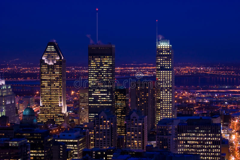 Download Cityscape Night Scene Montreal Skyscraper Stock Photo - Image: 12526882