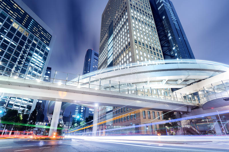 Cityscape at Night in Shiodome District, Tokyo, Japan royalty free stock images