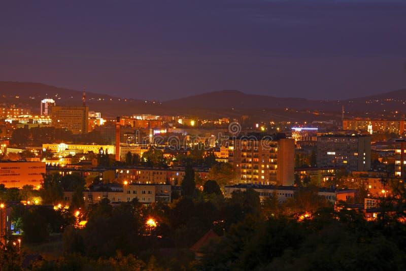 Cityscape at night. Night shot of cityscape. Poland, Kielce, The Holy Cross Mountains royalty free stock photo