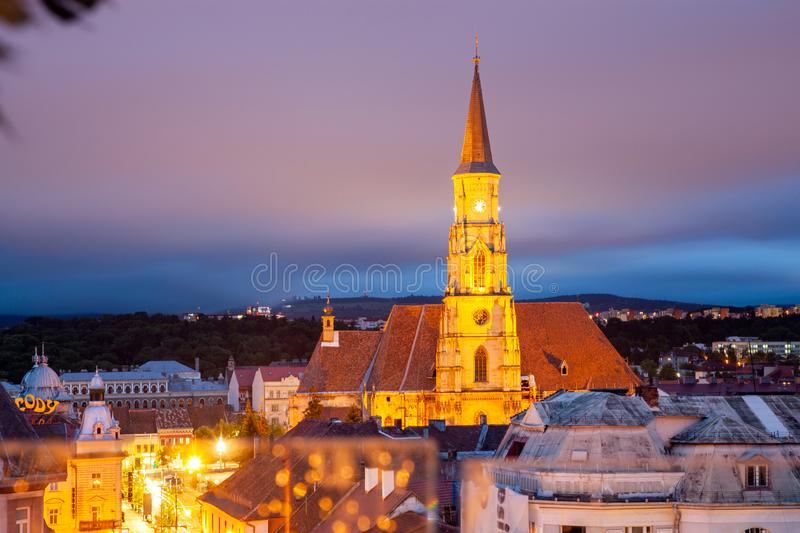 Cityscape at night - top view of Saint Michael church Cluj-Napoca, Romania. Hill, gothic, urban, europe, architecture, tower, sky, art, transylvania, old royalty free stock photography