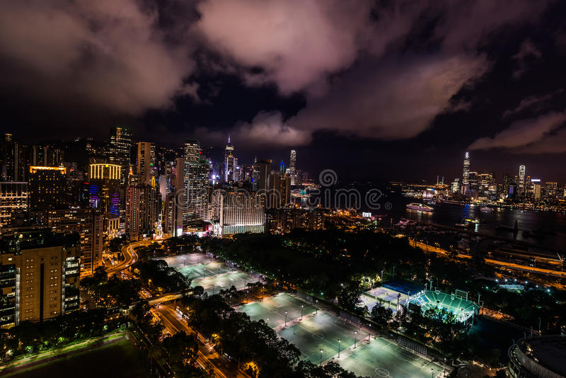 Cityscape night Victoria Park Causeway Bay Hong Kong. Cityscape at night on Victoria Park Causeway Bay in Hong Kong royalty free stock images
