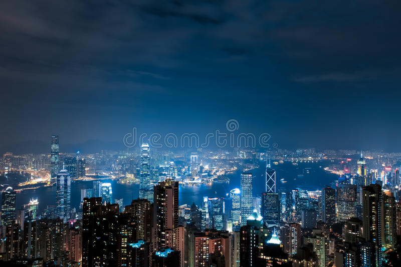 Hong Kong Victoria Peak Night Scene royalty free stock photos