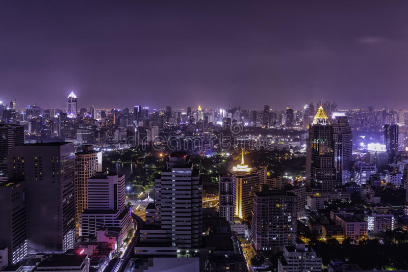 Cityscape for night view from rooftop. Can use to display or montage on your product royalty free stock photo