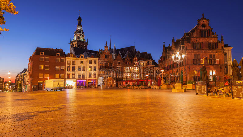 Cityscape of Nijmegen squre at dusk twilight. The Netherlands stock images