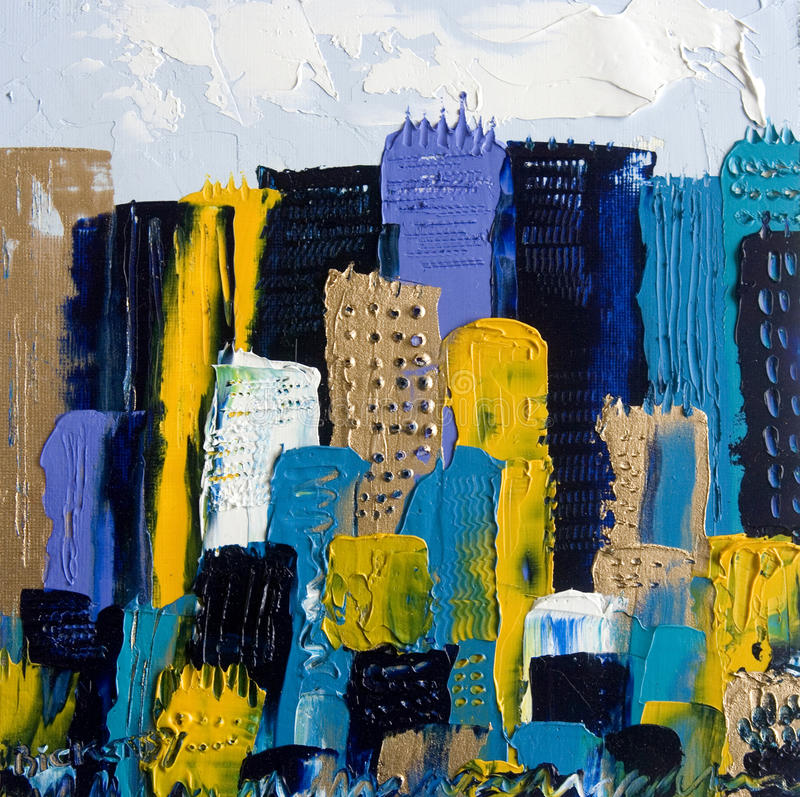 Cityscape in Oil. Whimsical painting of a cityscape and its skyscrapers in oil on canvas stock photography