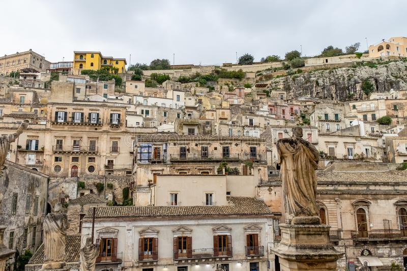 Cityscape of the old baroque town Modica in Sicily stock images
