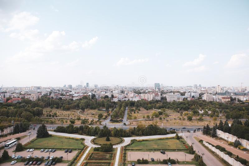 Cityscape of old part of Bucharest, with many worn out buildings, as seen from the Palace of Parliament royalty free stock photos