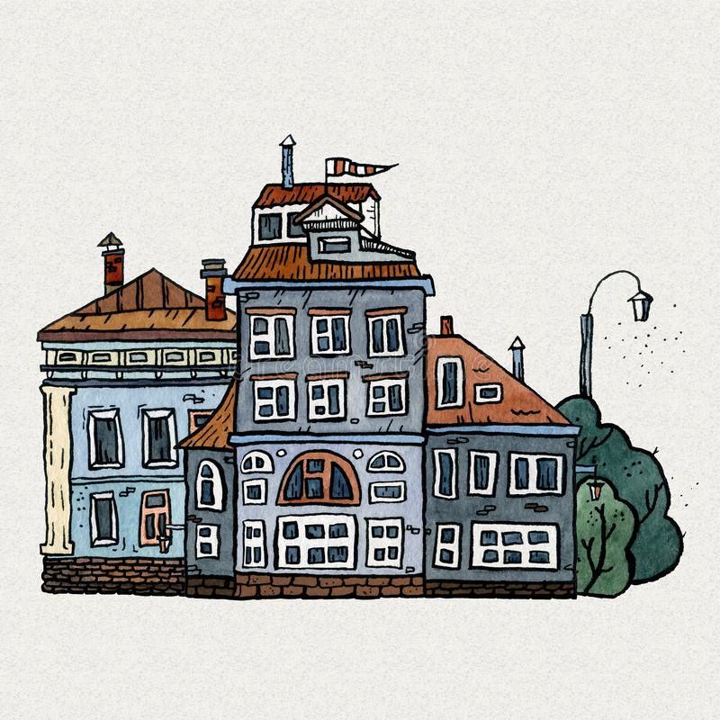 Cityscape old town hand drawn watercolor illustration. Old city landscape with tower, houses, trees. Grunge ink sketch royalty free stock photos