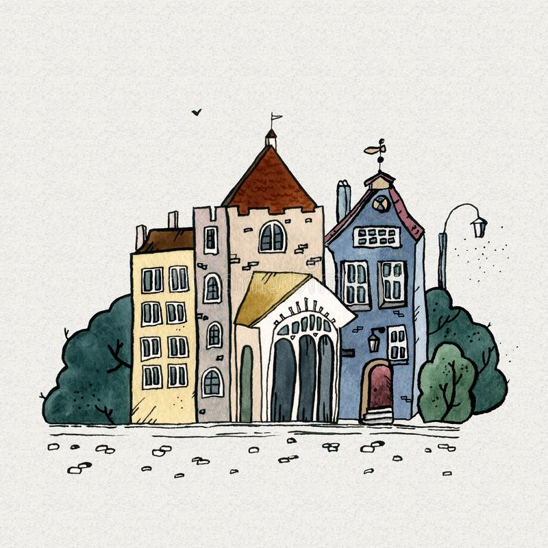 Cityscape old town hand drawn watercolor illustration. Old city landscape with tower, houses, trees. Grunge ink sketch stock image