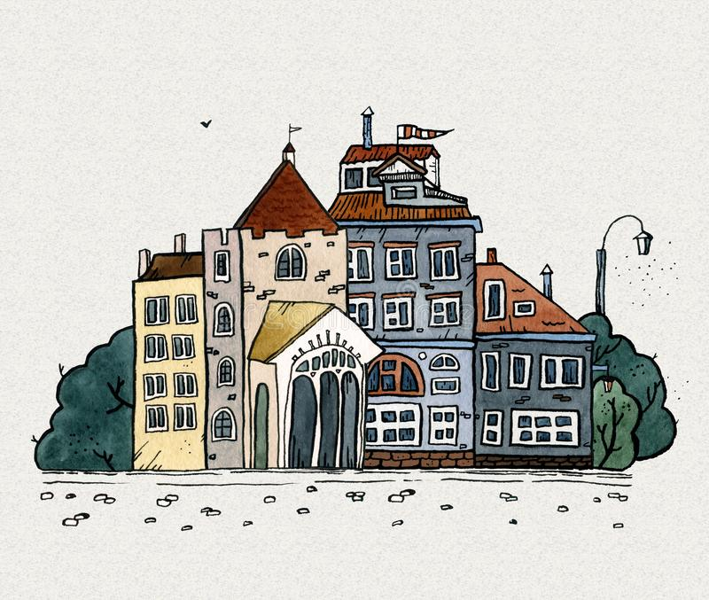 Cityscape old town hand drawn watercolor illustration. Old city landscape with tower, houses, trees. Grunge ink sketch royalty free stock photography