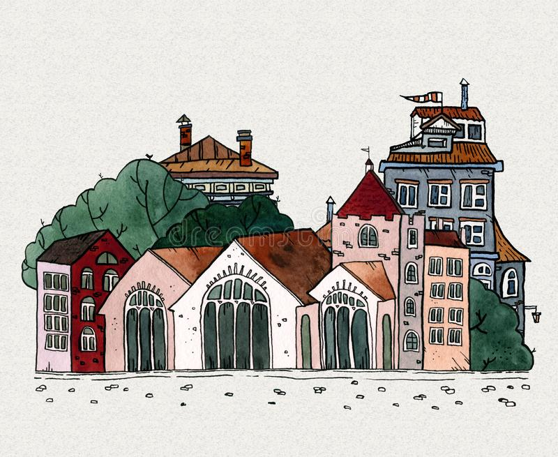 Cityscape old town hand drawn watercolor illustration. Old city landscape with tower, houses, trees. Grunge ink sketch stock photos