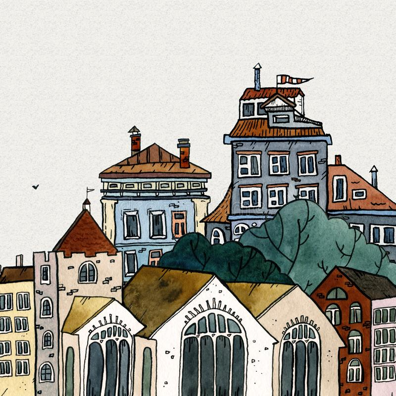 Cityscape old town hand drawn watercolor illustration. Old city landscape with tower, houses, trees. Grunge ink sketch stock images