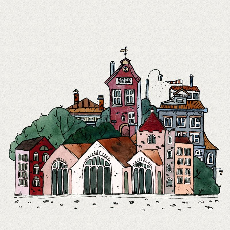 Cityscape old town hand drawn watercolor illustration. Old city landscape with tower, houses, trees. Grunge ink sketch royalty free stock photo