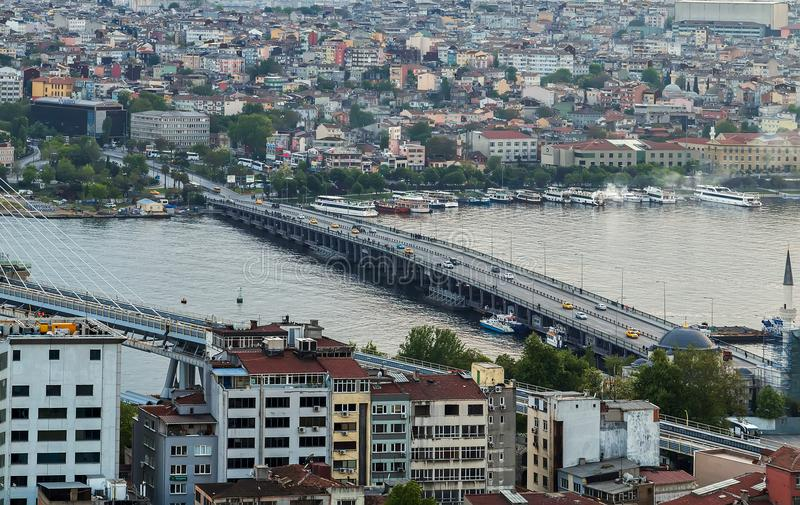 Cityscape of the Old Town, Panoramic view of Golden Horn from Ga stock photos